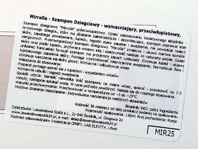 Mirolla - Szampon dziegciowy - wzmacniający, przeciwłupieżowy, etykieta