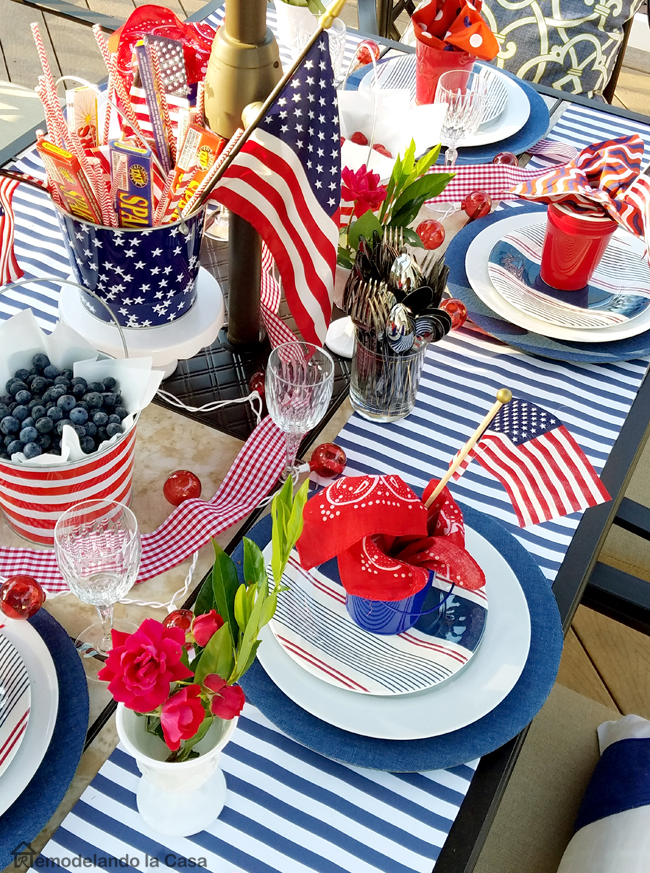 Fourth of July celebration with red, white and blue