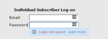 Chrome insecure login warning