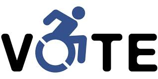 "Large blue ""VOTE"" logo, in which the ""O"" is part of a stylized wheelchair symbol's wheel"