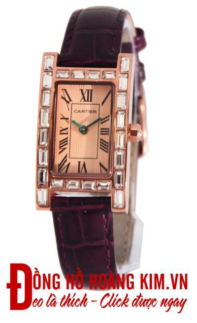 đồng hồ nữ dây da cartier đính đá