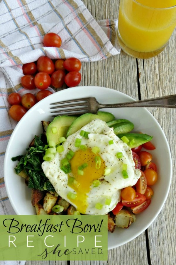 Avocado Egg Potato Breakfast Bowl from She Saved