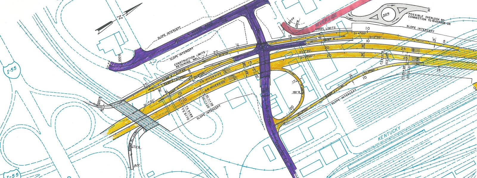 here s a more detailed view of one of the alternate routes demonstrating the need to extend carolina avenue shown here in purple over the expressway to