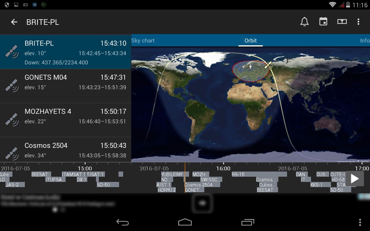 13. Wybór przykładowego satelity radiowego, w tym wypadku naszego rodzimego BRITE-PL w oknie szczegółów przelotu z wyświetlaniem orbity i aktywną opcją osi czasu