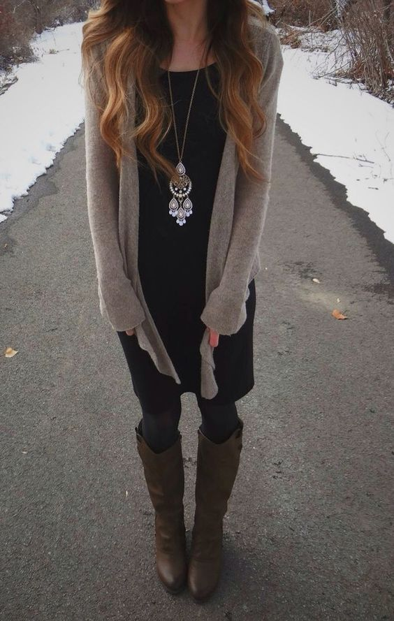 Fall Fashion - dress with cardigan and boots