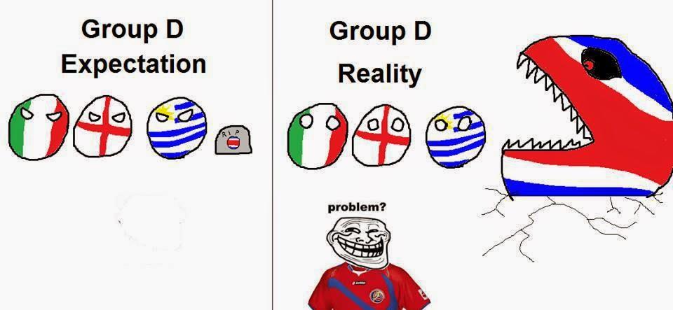 Ảnh chế hài hước bóng đá về chiến thắng của Costa Rica World Cup 2014