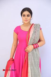 Actress Poorna Pictures in Red Salwar Kameez at Jayammu Nischayammu Raa Teaser Launch  0001