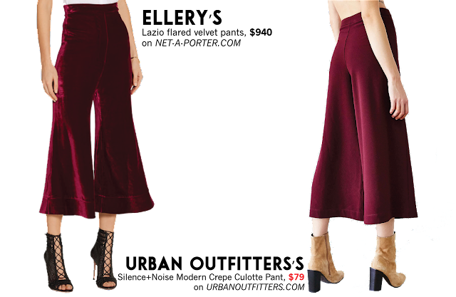 Ellery Urban Outfitters velvet pants culotte pant dupe trend