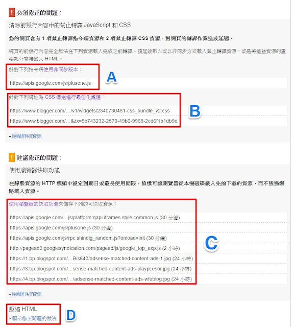 pagespeed-test-result-wfublog-backup-2-Blogger 使用 Pagespeed Insights 網站速度效能檢測心得