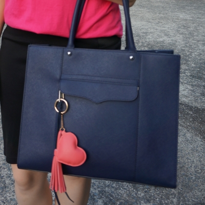 Rebecca Minkoff medium MAB tote in moon navy with heart tassel bag charm | away from the blue