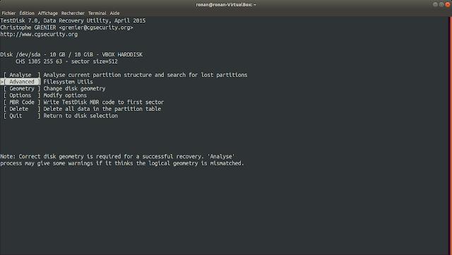 Menu Advanced dans TestDisk.