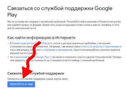 Как связаться с техподержкой Гугл Плей