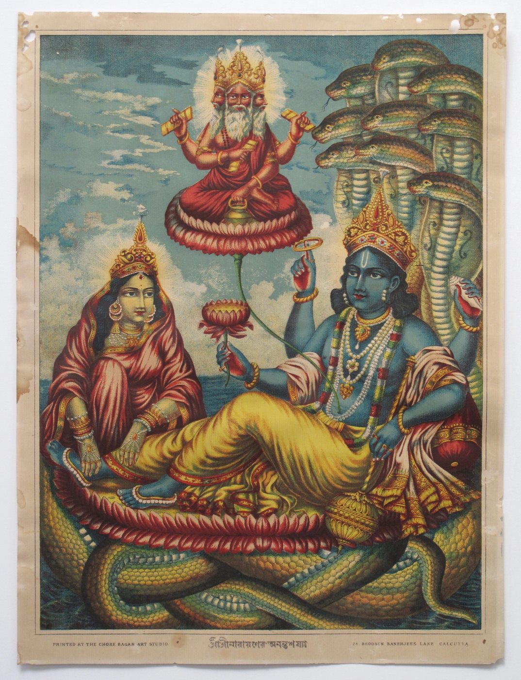 Anantashayi Vishnu - Chore Bagan Art Studio, Colour Lithograph, Calcutta (Kolkata), c1890