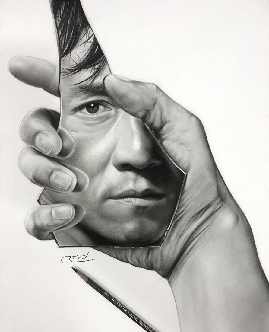 06-Jackie-Chan-Aymanarts-Realistic-3D-Illusion-Portrait-Drawings-www-designstack-co