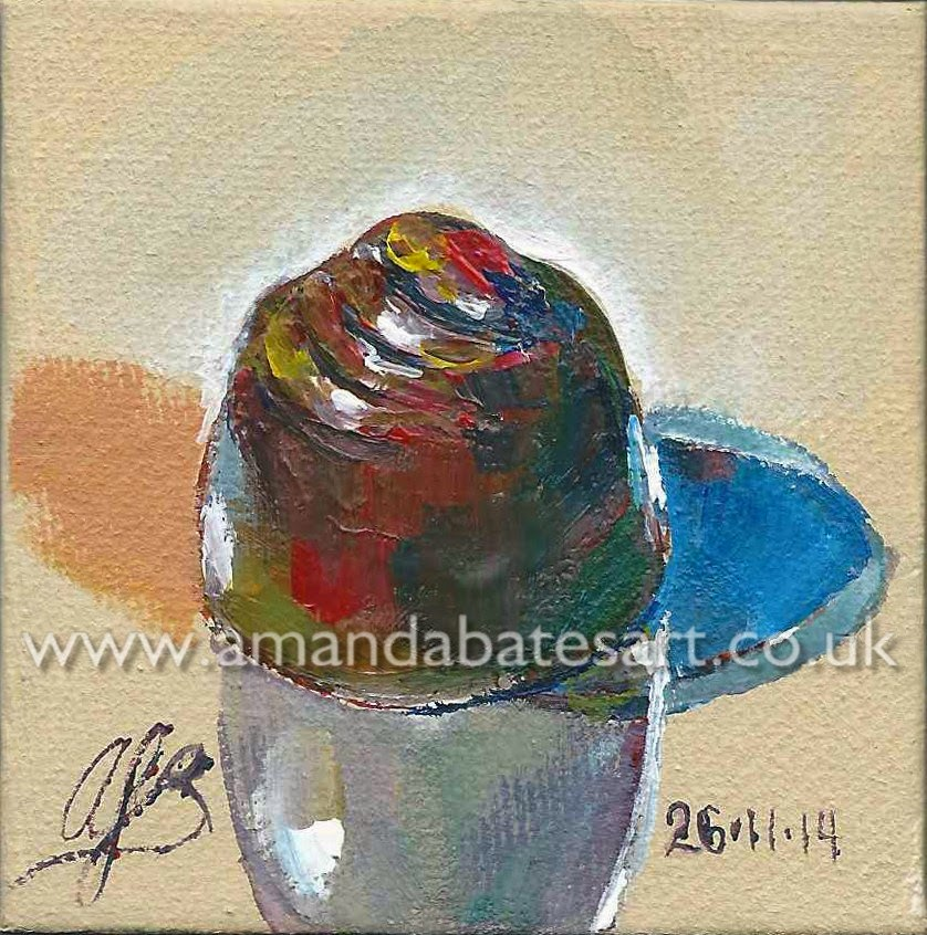 Little still life painting of a milk chocolate caramel sweet (acrylic on canvas)