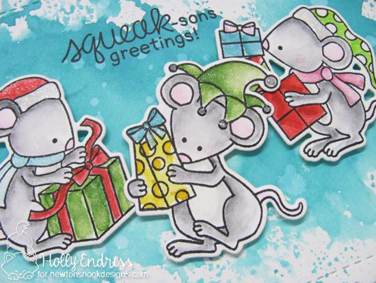 Squeak-sons Greetings Card by Holly Endress | Naughty or Mice Stamp Set by Newton's Nook Designs #newtonsnook #handmade