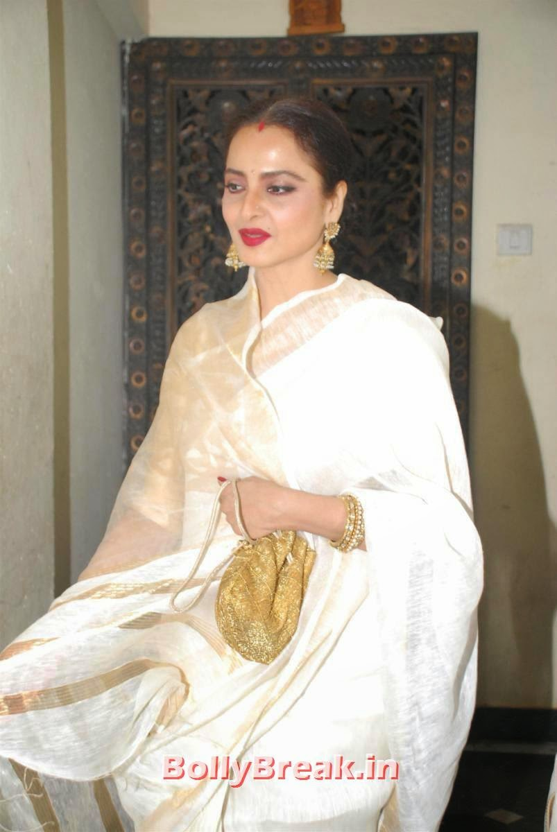 , Rekha Ji Pics in White Saree At Priyanka Chopra Birthday Party