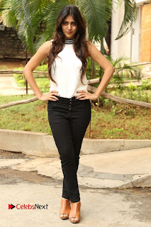 Actress Chandini Chowdary Pictures in Black Denim Jeans at Kundanapu Bomma Telugu Movie Press Meet 0153