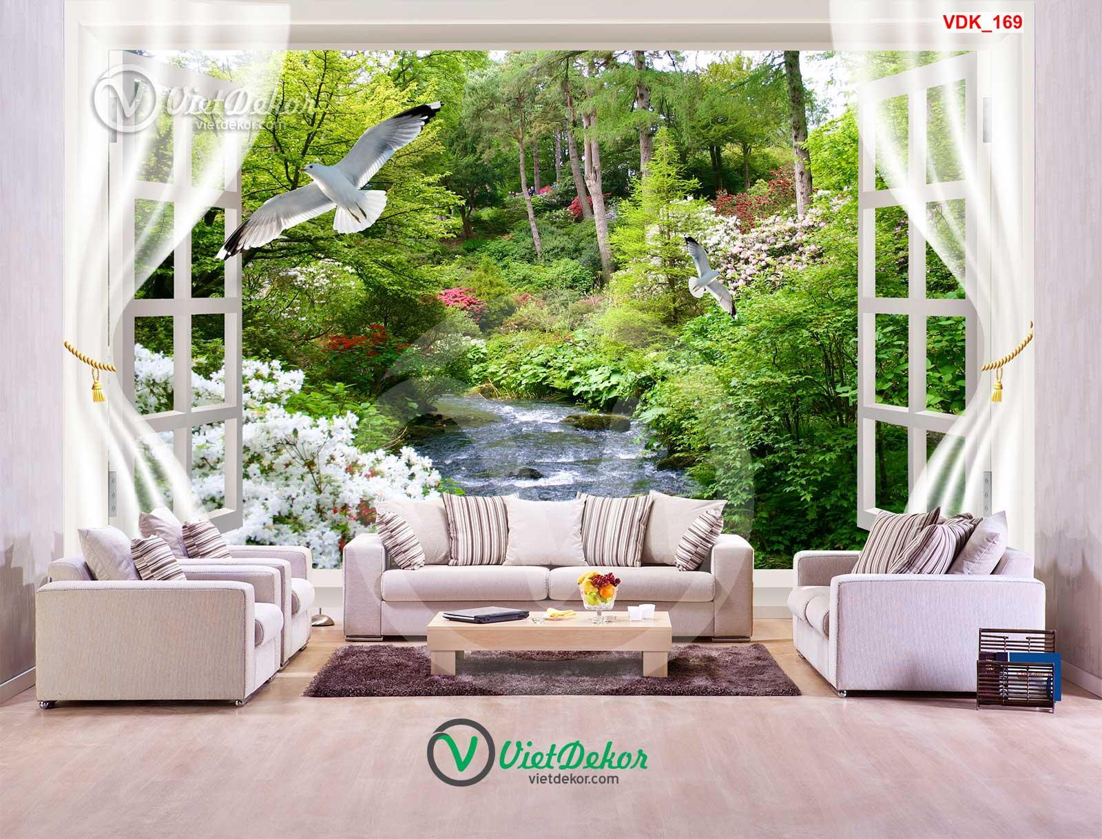 Tranh dán tường 3d cửa sổ hoa thác nước