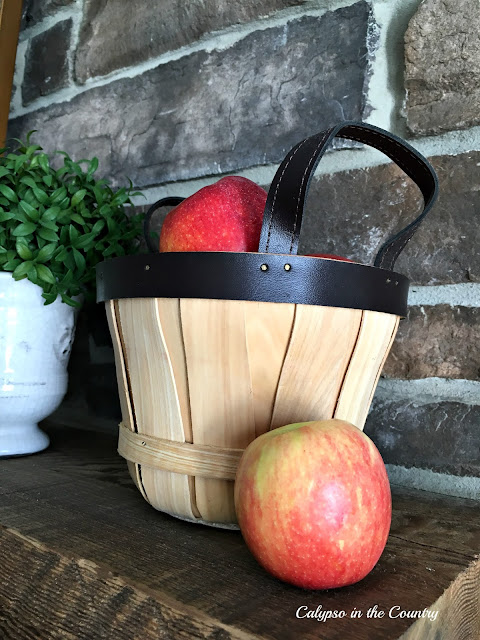 Basket of Apples - Decorating the Mantel for Fall