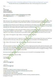 Letter to Bank for Settlement Claim on Deceased person's account (Sample)