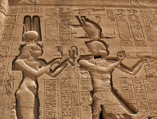 Cleopatra and Caesarion as Isis and Horus at Dendera temple