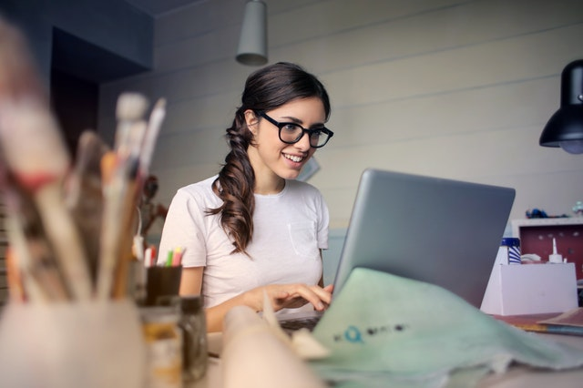 woman working, laptop