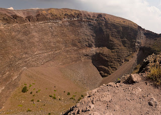 The vast crater of Mount Vesuvius, which remains classified as an active volcano despite being quiet since 1944
