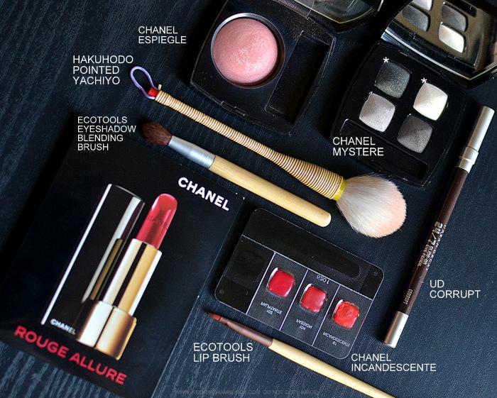 Today's makeup - Chanel lipstick Incandescente - Eyeshadow Mystere - Espiegle Blush - Urban Decay Corrupt Eyeliner - Hakuhodo Pointed Yachiyo Ecotools Brushes