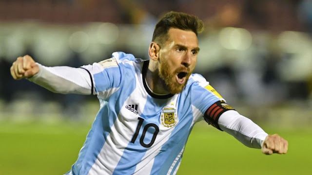 Lionel Messi celebrating Argentina goal during world cup qualifier
