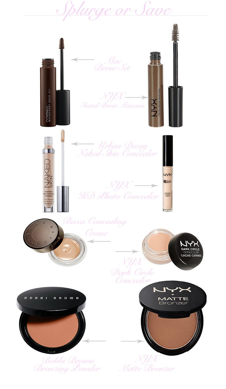 makeup dupes, splurge vs save, cheap makeup, expensive makeup, this or that with makeup, whats the best makeup, inexpensive makeup