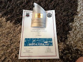 Urkunde Pokal Berglandlauf Hammerbrücke 2017