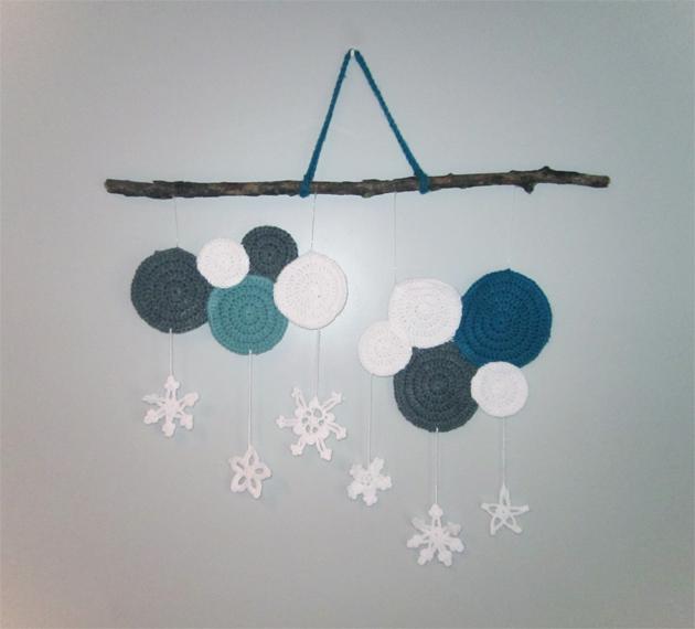 Colgante nieve para pared de crochet