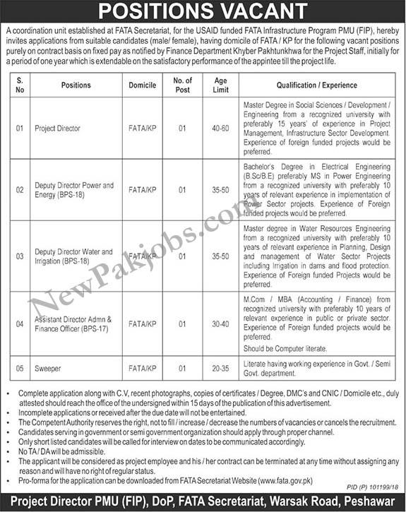 Jobs-in-Fata-Secretariat-Peshawar-October-2018-vacancies