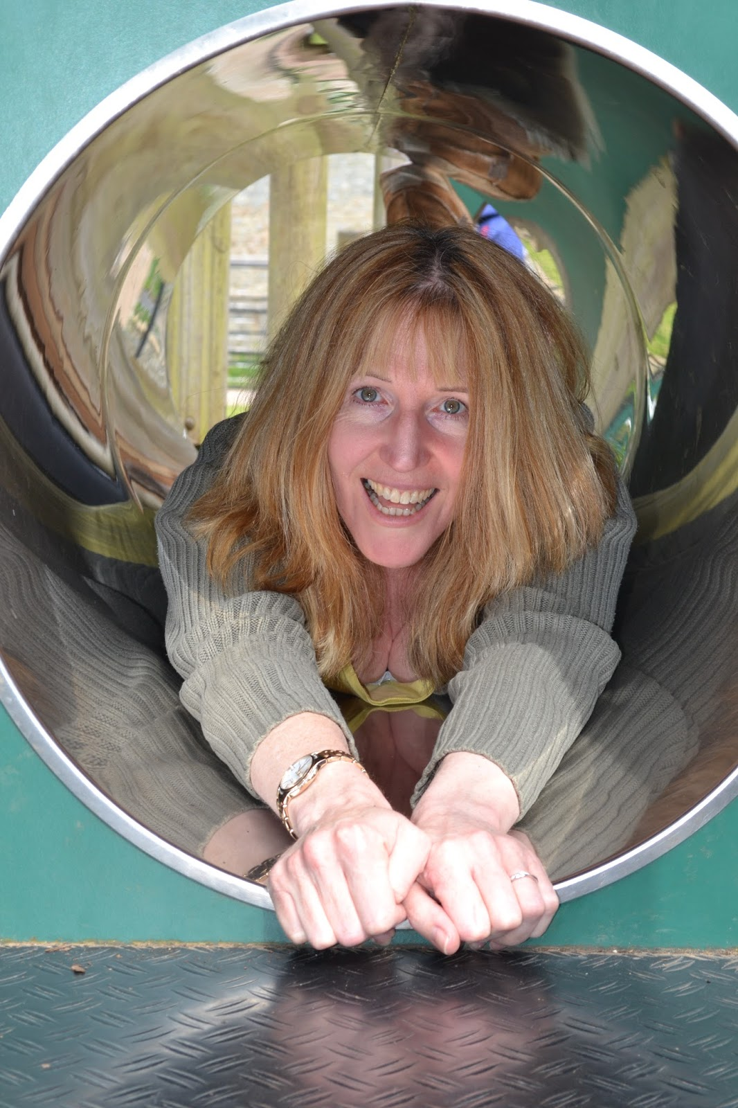 Linda Hobbis at playground in National Trust Dyffryn Gardens
