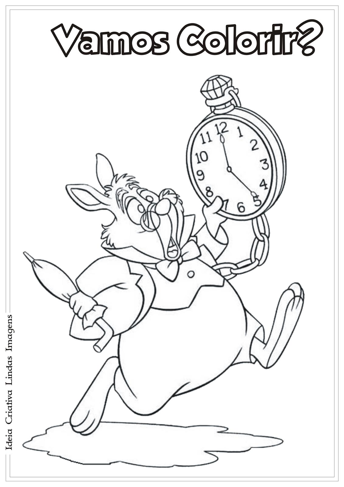 Alice No Pais Das Maravilhas Coelho Branco Desenho Para Colorir
