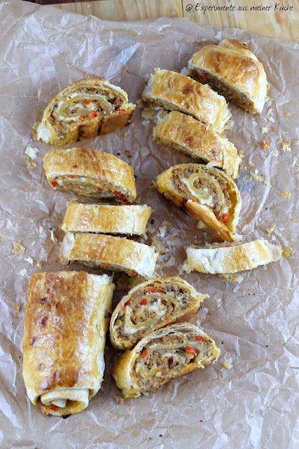 Experimente aus meiner Küche: Blätterteig-Hackfleisch-Strudel mit Käse #ichbacksmir