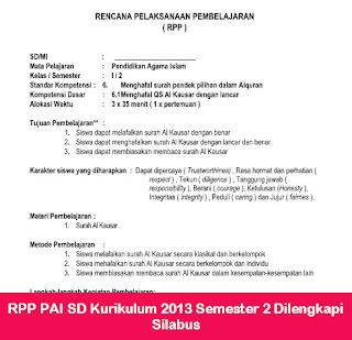 RPP PAI SD Kurikulum 2013 Semester 2 Dilengkapi Silabus