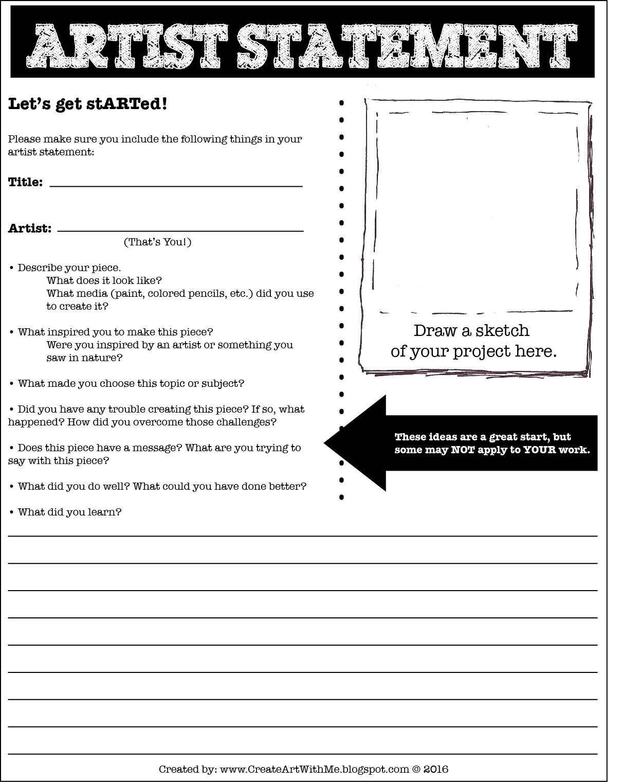 Create Art With Mrs P Artist Statement Form For Middle School