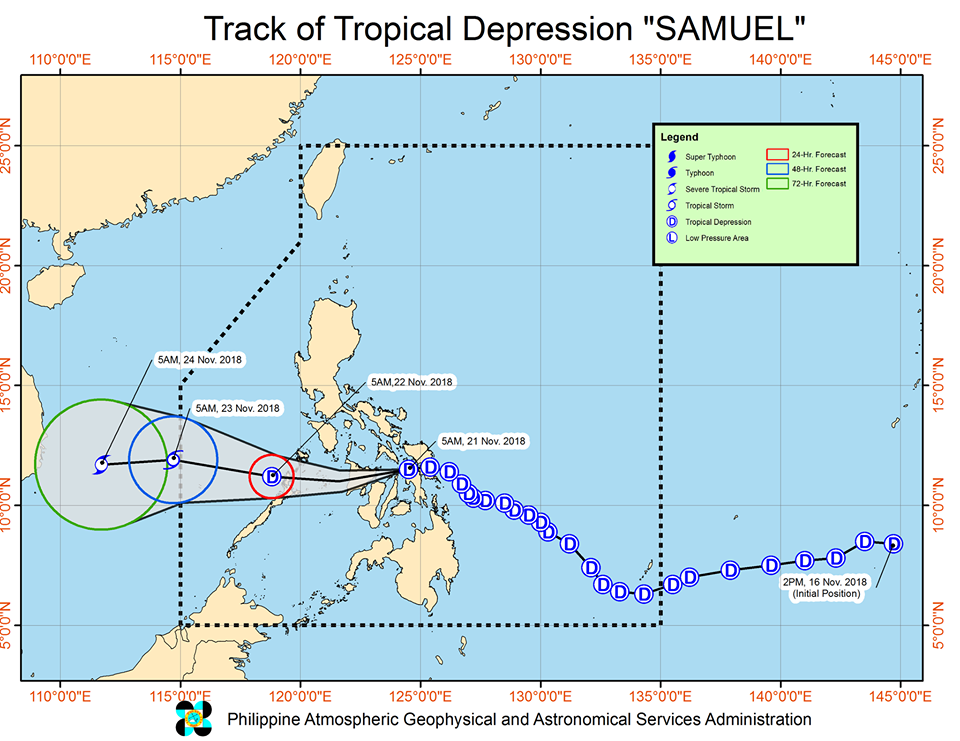Latest track of  Tropical Depression Samuel