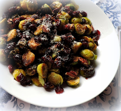 Roasted Sprouts with Cranberries & Pecans