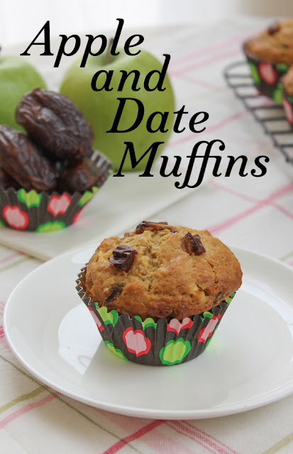 Food Lust People Love: Sweet ripe Medjool dates and tart green apple combine in these apple and date muffins to make a deliciously nutritious breakfast or snack.