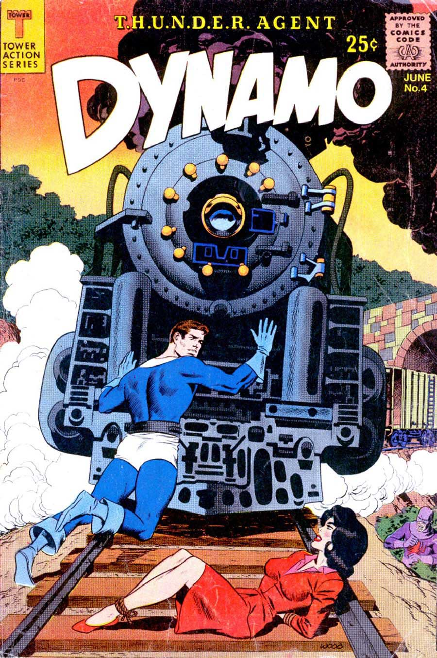 Dynamo v1 #4 tower 1960s silver age comic book cover art by Wally Wood