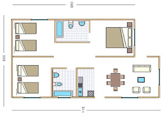 plano Casas Paine 63 mts cuadrados