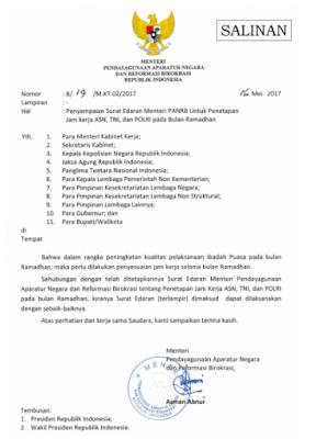 Penetapan Jam Kerja ASN,TNI,POLRI Pada Bulan Ramadhan 2017