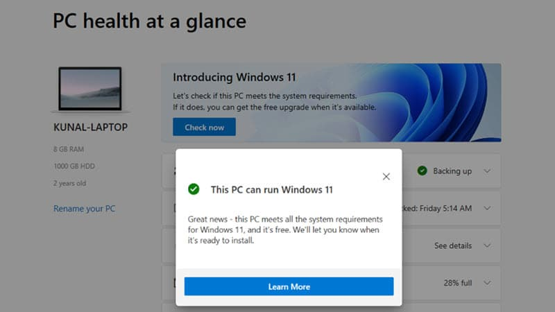 Check to find if you have a Windows 11 compatible system