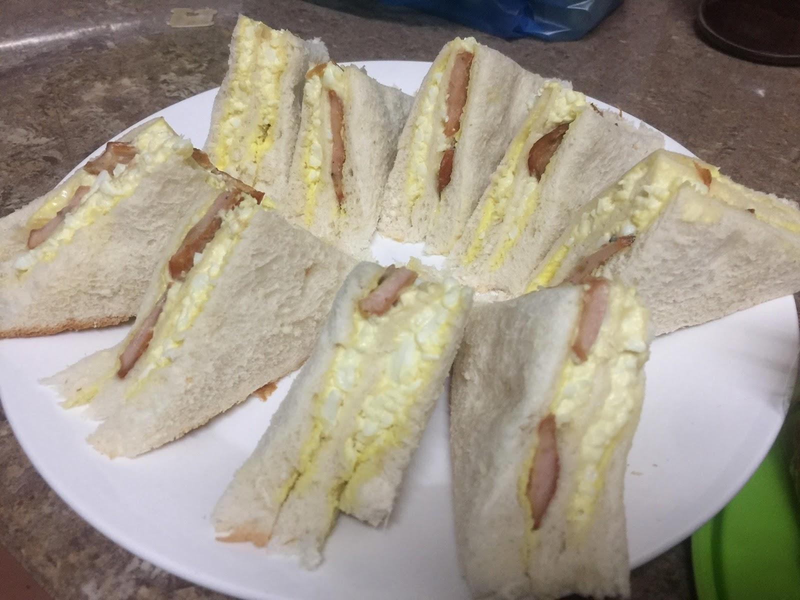 sandwich, resepi mudah untuk sarapan dan minum petang, sandwich telur, bento