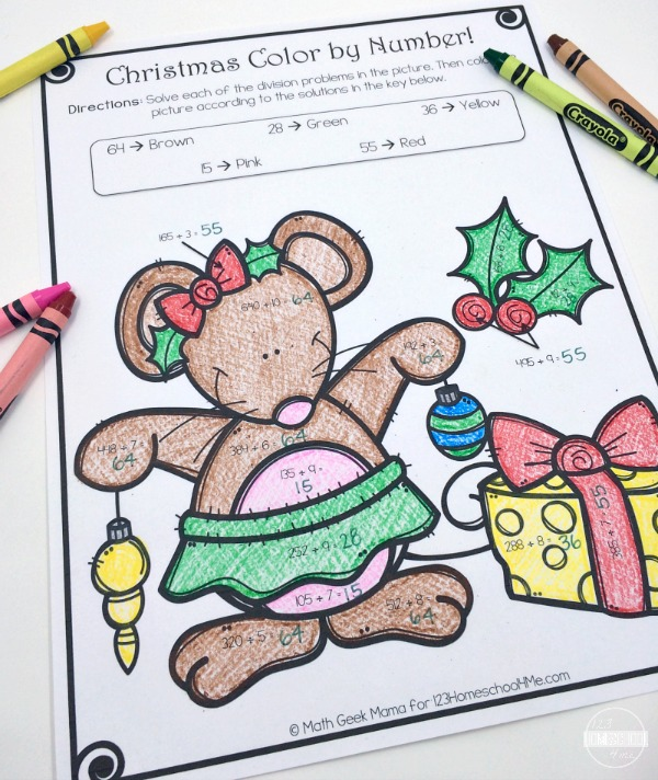 Christmas Color by Number Division – 3rd Grade Christmas Math Worksheets