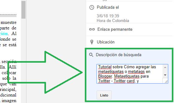 Descripción de búsqueda Blogger