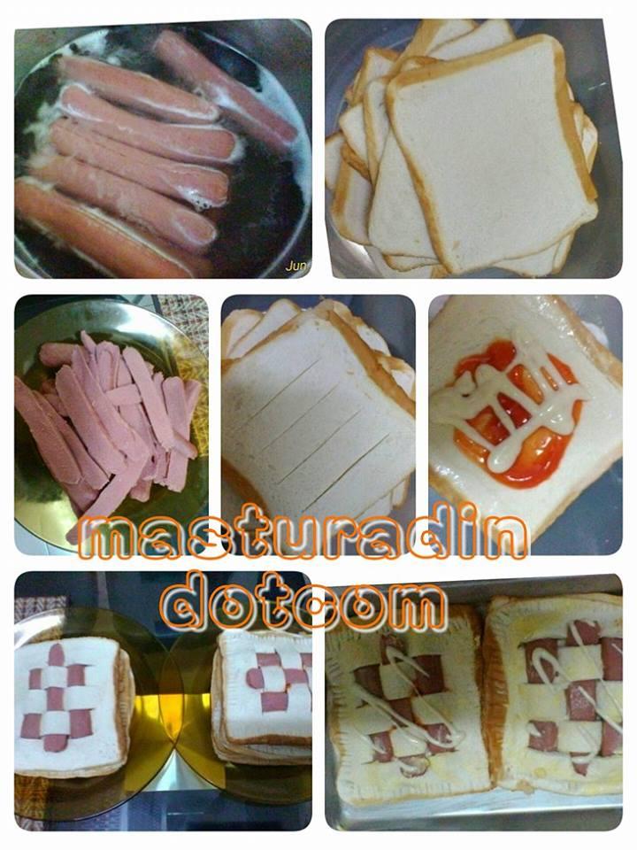 cara membuat roti sosej, resepi roti, sulaman cinta